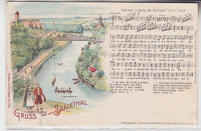 70861 Ak Lithographie Gruß aus dem Saalethal bei Giebichenstein um 1900