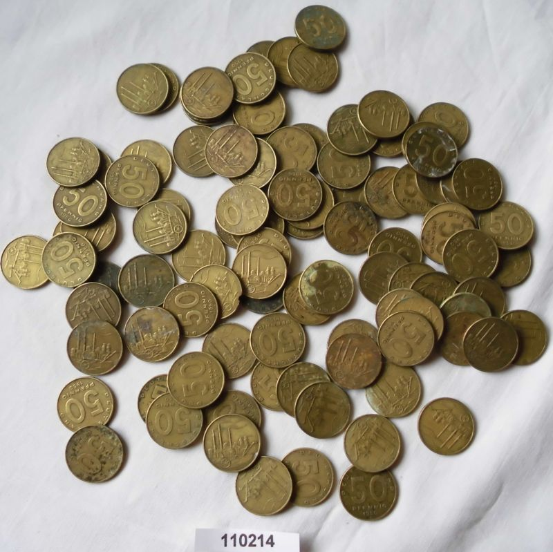Ddr 100 X 50 Pfennig Messing Münzen Alle Von 1950 110214 Nr