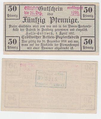 50 Pfennig Banknote Cröllwitzer Actien Papierfabrik Halle 1.April 1917 (111221)