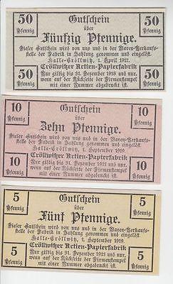 3 x Banknoten Cröllwitzer Actien Papierfabrik Halle 1917-1919 (111816)