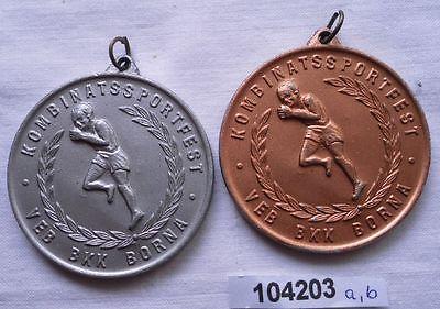2 x DDR Sport Medaillen Kombinatsionssportfest VEB BKK Borna (104203)