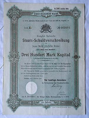 300 Mark kgl.sächsische Staats-Schuldverschreibung Dresden 1.10.1900 (120623)