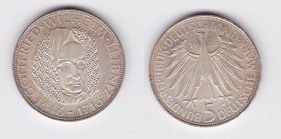 5 Mark Silber Münze Deutschland Gottfried Wilhelm Leibniz 1966 D (123006)