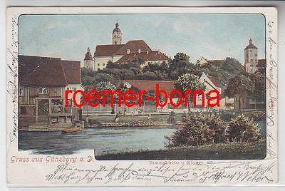 77516 Ak Gruß aus Günzburg an der Donau Frauenkirche und Kloster 1902