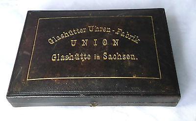 Goldene Taschenuhr Uhrenfabrik Union Glashütte 1 A um 1900 im Originaletui