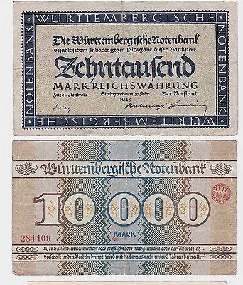 10000 Mark Banknote Württembergische Notenbank 20.2.1923 (121221)