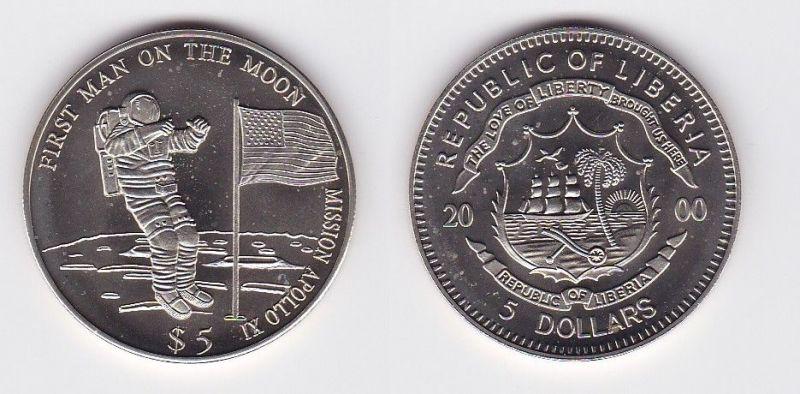 5 Dollar Nickel Münze Liberia 2000 1 Mann Auf Dem Mond 118363 Nr