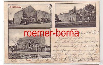 80404 Mehrbild Ak Gruß aus Priestewitz Geschäftshaus, Bahnhof, Schule 1904