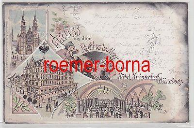 77882 Ak Lithografie Gruss aus dem Rathskeller u. Hotel Kaiserhof Nürnberg 1898