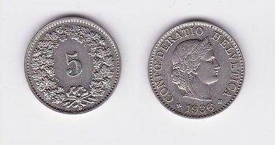 5 Rappen Kupfer Nickel Münze Schweiz 1936 B 117143 Nr