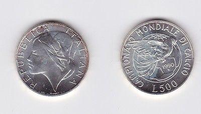 500 Lire Silber Münze Italien 1990 Fussball WM Italien (119712)