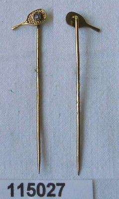 Hübsche vergoldete Anstecknadel in Form eines Tennisschläger um 1930 (115027)