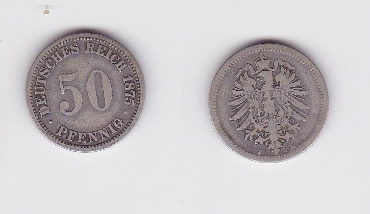 50 Pfennig Silber Münze Deutsches Reich 1875 A 122946 Nr