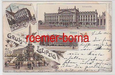 77299 Ak Lithographie Gruß aus Leipzig Café Felsche usw. 1898