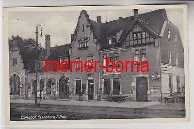 78162 Ak Bahnhof Eisenberg in Thüringen Bahnsteigansicht um 1930