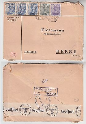 72429 seltener Zensur Post Brief von Madrid Spanien nach Herne in Westf. 1940