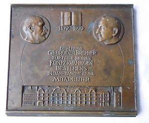 Große Bronze Plakette Firma Brehmer Leipzig 1929 (110681)