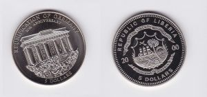 5 Dollar Nickel Münze Liberia 2000 Mauerfall, Berlin Brandenburger Tor (118183)
