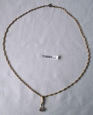 Elegante Kette und Anhänger mit weißem Stein 333er Gold (118062)