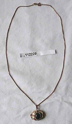 Schöne Halskette 333er Gold und Anhänger mit grünem Stein (112229)