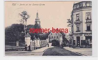 83683 Ak Hof Partie an der Lorenz-Kirche mit Geschäft von Ernst Wolf 1909