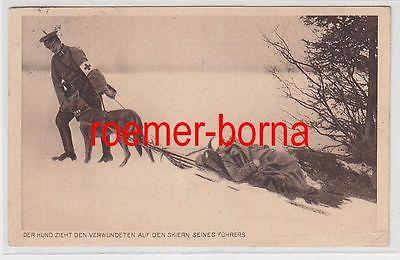 73601 Wohlfahrts-Postkarte Militär Transport eines Verwundeten im Schnee 1916