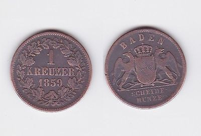 1 Kreuzer Bronze Münze Baden 1859 (117181)