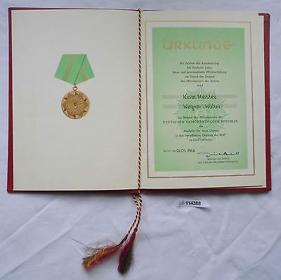 DDR Urkunde Medaille für treue Dienste Ministerium des Innern in Gold (114388)