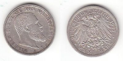 2 Mark Silber Münze Württemberg König Wilhelm Ii 1907 F 113028 Nr