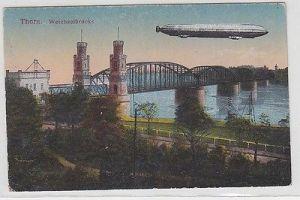 69475 Feldpost Ak Thorn Zeppelin über Weichselbrücke 1917