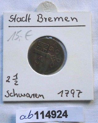 2 1/2 Schwaren Bronze Münze Stadt Bremen 1797 (114924)