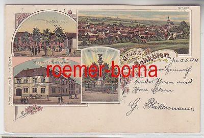 77244 Ak Lithografie Gruss aus Schkölen Gasthof, Schützenhaus usw. 1900