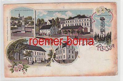 71567 Ak Lithografie Gruss aus Pleissa Gasthaus zum goldenen Stern usw. um 1910