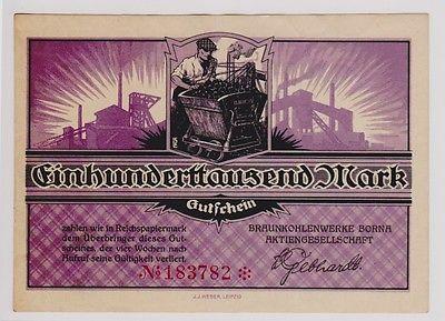 100000 Mark Banknote Braunkohlenwerke Borna um 1923 (120308)