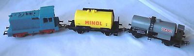 PIKO Diesellokomotive blau Spur H0 plus 2 Tankwagen  (111472)