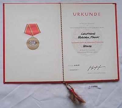 DDR Urkunde Verdienstmedaille der NVA in Bronze 1973 (114090)
