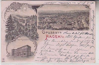 71620 Ak Lithographie Gruss aus Hagen in W. Real Gymnasium usw. 1900
