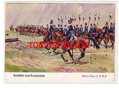 81236 Ak Ulanen Regiment 13 X.A.K. Heimkehr vom Exerzierplatz um 1930