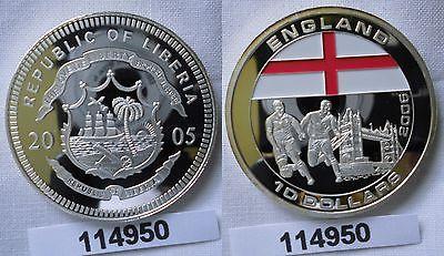 10 Dollar Farb Silber Münze Liberia 2005 Fussball Wm 2006 England