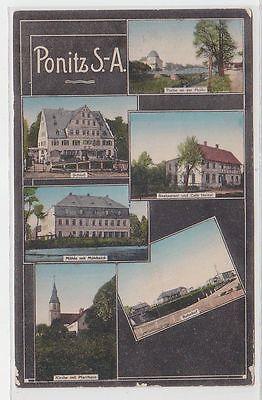 71315 Mehrbild Ak Ponitz S.-A. Bahnhof, Restaurant usw. 1914