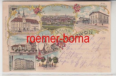 82933 Ak Lithographie Gruß aus Rosswein Bahnhof, Schule usw. 1900