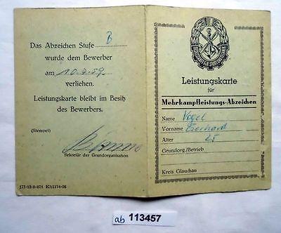 DDR Leistungskarte GST für Mehrkampfleistungsabzeichen (113457)