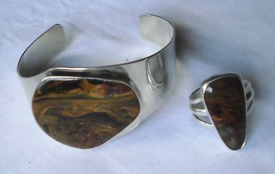 Herrliches Schmuck Set 925er Silber mit marmoriertem Stein (100572)