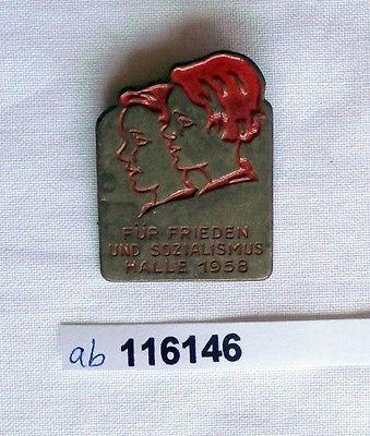 DDR Blech Abzeichen für Frieden und Sozialismus Halle 1958 (116146)