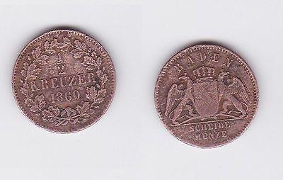 1/2 Kreuzer Bronze Münze Baden 1860 (117262)