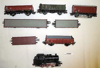 Schöne Märklin Dampflokomotive mit 7 Güterwagen Spur H0 (110457)