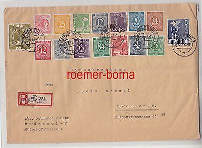 68889 seltener Einschreibenbrief Radebeul mit Michel 962 von 1948