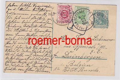 82587 Ganzsachen Postkarte mit deutscher und belgischer Frankatur 1911