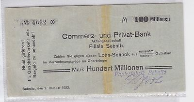 100 Millionen Mark Banknote Papierfabrik Sebnitz 2.10.1923 (118819)