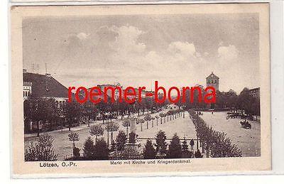 80420 Ak Lötzen Gizycko O.-Pr. Markt mit Kirche und Kriegerdenkmal 1915